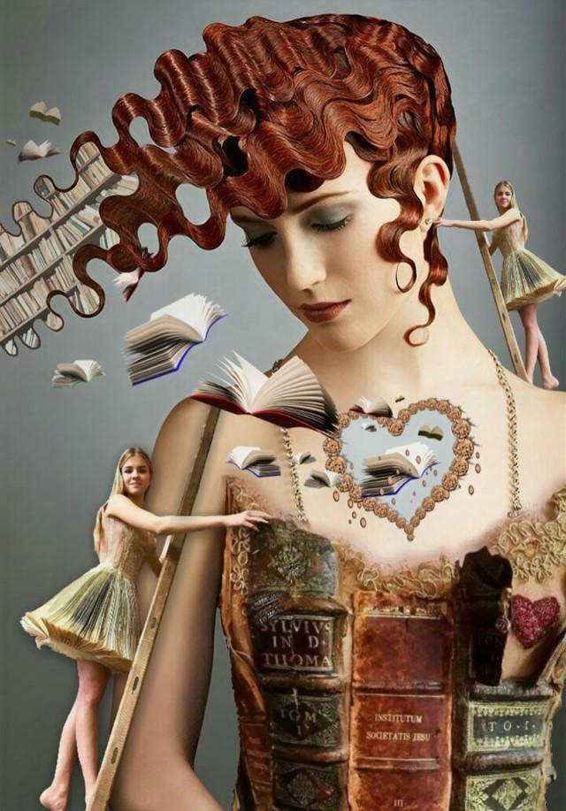 Surreal Library 📚 #flyingbooks #books #library  #bookshelf #woman #redhead #wavyhair #diamondheart #girl #duplication #pretty #blonde #ladder #climbing #paperdress #booklover #imagination #myimagination #stayinspired #create #creativity #surreal #madewithpicsart