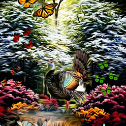 @asweetsmile1 background blendedimages turkey butterflies flowers fall autumn colorful color bright oilpaintingeffect oil freetoedit