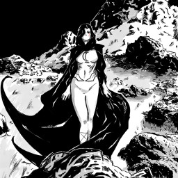 ink blackandwhite draw drawing woman heroine moon mountain