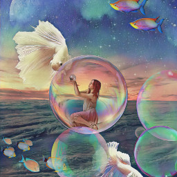 fantasy surreal fish sky bubbles fisheyeffect colorful floramagiceffect freetoedit