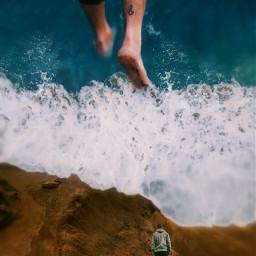 giant legs tinypeople ocean wave papicks picsart surreal myimaginationatwork madewithpicsart manipulationphoto stepbystepedit be_unique be_cool myart myedit davechinoart freetoedit