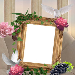 mirror pinkflowers sunset white doves greeks vines grapes aesthetic columns