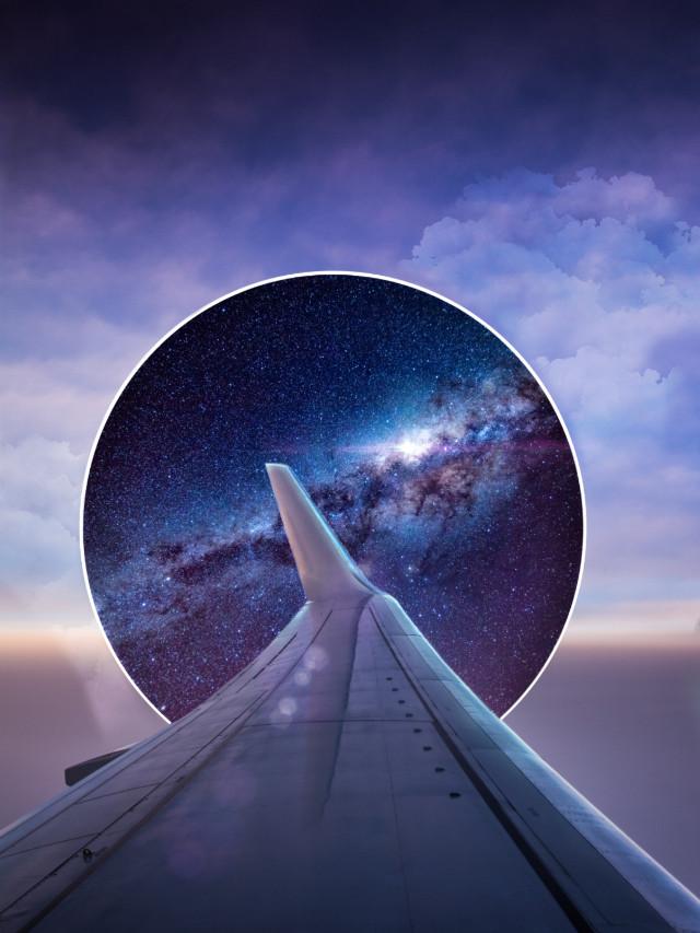 🌌🤗 #freetoedit #galaxy #sky #plane #travel #gate #light #surrelisticgate #clouds #heypicsart #inspiration #stayinspired #madewithpicsart