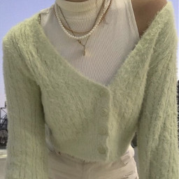 aesthetic asthetic aesthetics sweater cardigan green pretty fuzzy necklaces jewelry outfit clothesinspo