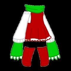 christmas gacha gachalife gachaclub life club cute dress skirt sweater socks high anime cutie aesthetic kawaii adorable girl feminine xmas holiday holidays green white red freetoedit