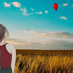 balloon girl photography freetoedit