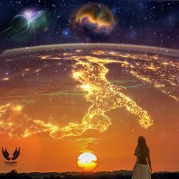 makeawesome heypicsart edit editbyme surreal surrealistic sunset girl galaxy universe manipulation photomanipulation