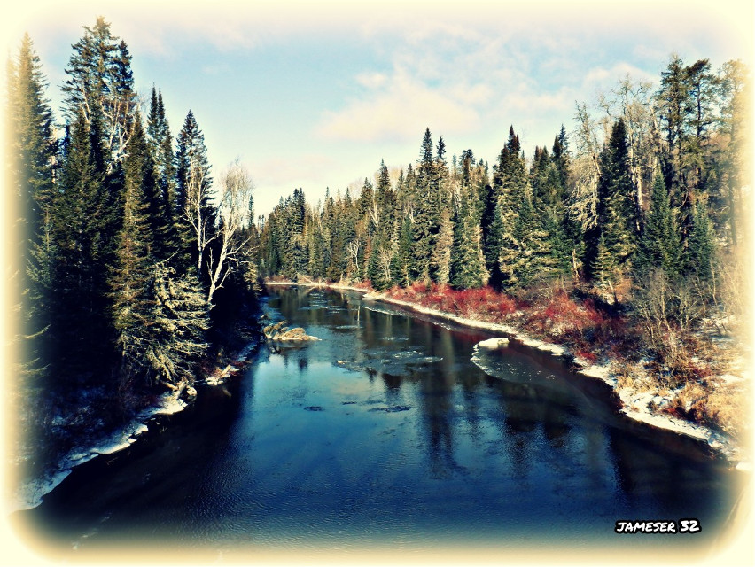 #photography #colorful #pretty #cool #winter #river #water #snow #tress