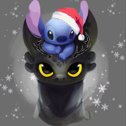 merryxmas toothless stitch dragon black blue babyblue disney cute loveable sweet lilo fantasy snow snowflake winter faded adoreable freetoedit