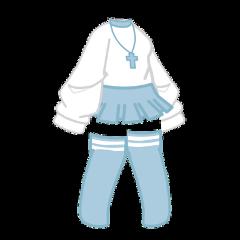 gacha gachalife gachaclub life club clothes clothing skirt dress anime blue pastel light white choker necklace socks oversized aesthetic cute adorable girl short stripes cross freetoedit