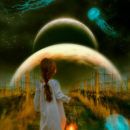 freetoedit mastershoutout nightsky littlegirl jellyfish