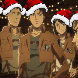 aot attackontitan surveycorps christmas merrychristmas christmaslights santahats anime freetoedit