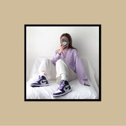 freetoedit lavender purple jordans mirrorselfie