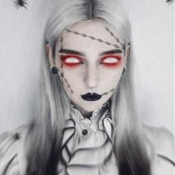 effect photo edit experimente girl eyes olhos maquiagem montagem vampire gothic dark punk monster halloween cyberpunk gotico terror horror freetoedit