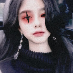 photo experimente girl eyes olhos dark punk cyberpunk gotico terror horror egirl japan korean menina make edit effect maquiagem monster freetoedit