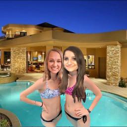 serenamarable sophie serenaandsophie infpandintp besties bestfriends bestfriendforever bff bathingsuit bikini pool girl freetoedit