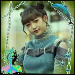 girl menina aesthetic vaporwave cyberouni punk olographic green verde pink rosa kawaii fofo cute japan bts kpop korean style edit photo effect efeitos adesivos stickers freetoedit