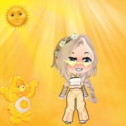 sun sunshine sunflower sunlight animegirl picsart clothes anime yellow freetoedit