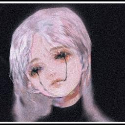 aesthetic aestheticgirl aestheticanimegirl dark black scary art vhs freetoedit