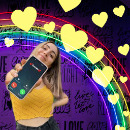 yellowhearts rainbow cellphone girl freetoedit srcyellowhearts