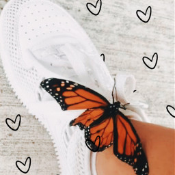 butterfly shoes hearts aesthetic peachy freetoedit