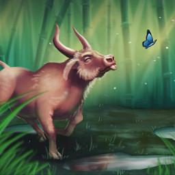 ox drawing chinesenewyear chinesenewyear2021 animal creature cow art photoshop adobe adobephotoshop illustration digitalart digitalpainting painting digitalartist wacom freetoedit