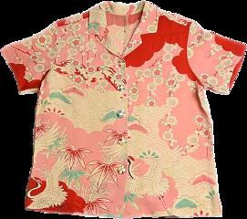 shirt buttonup buttonupshirt hawaiianshirt japaneseart pinkandred pink red clothes fashion outfit outfitaesthetic freetoedit