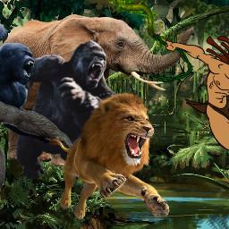 tarzan thelegendoftarzan jungle king hero disney gorilla lion elephant charge swinging vine vineswing kingofthejungle freetoedit
