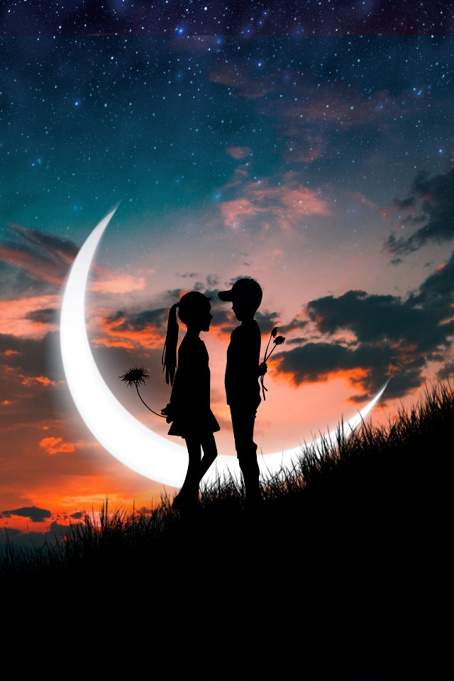 Romantic silhouettes are our jam 🌙 Edit by @irmak2003 #silhouette #silhouetteedit #love #romantic #sunset #freetoedit
