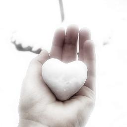 snowheart snow heart white flawless serenity love fresh blackandwhite landscape hand heartandlove freetoedit