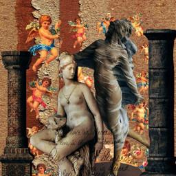 statues sculptures pillars vintage artistic aesthetic freetoedit srccherubangels cherubangels