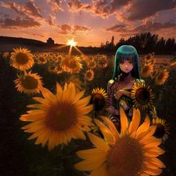 anime sunflower brightsunflowers