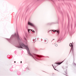 freetoedit kpop aesthetic jungkook cute pink soft bts