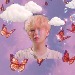 bts yoongi butterfly butterflies pink purple clouds rainbow blush bubbles sparkle sparkles freetoedit