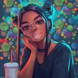 freetoedit aesthetic girl bubblegum art srcdoodlecircles