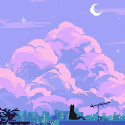 asthetic cute pixel pixelart clouds purple blue stars skyline city adorable night nighttime