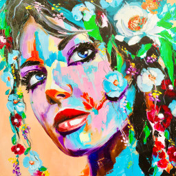 girl colorful painting person woman flowers bright