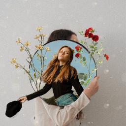 freetoedit girl flores flowers vintage lights espejo sky outfit remixit aesthetic