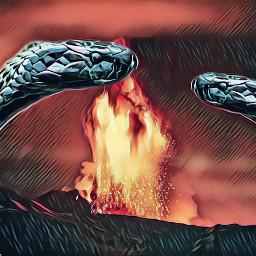 freetoedit volcano eruption snake surrealism unsplash