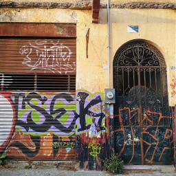 facade urban doors grafitti decay rust wall urbex