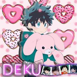 deku midoriyaizuku myheroacademia izuku mha pink kawaii donut hearts challenge freetoedit srctinyneonhearts tinyneonhearts
