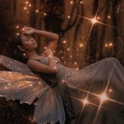 fairy female woman girl fantasy beauty beautiful pretty dress wings magic sparkle sparkles forest lights myedit creative imagination freetoedit