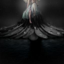 night fairytale flower darkness light glow fantasy edit freetoedit