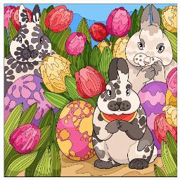 bunnies tulips easter easterbunny eastereggs freetoedit