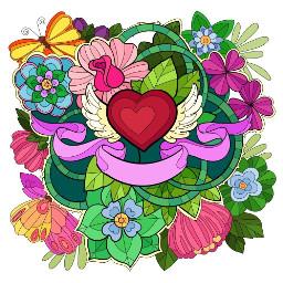 flowers heart butterfly background tattoostyle freetoedit
