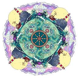sea lighthouse pattern background mandala freetoedit