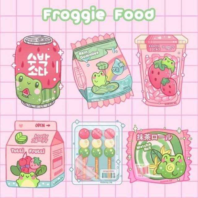 #food #drink #packs #candy #sweets #art #picsart #pink #green #kawaii #anime #kpop #cute #cutie #soft #frog #froggy #froggies #froggie #sweet #sweets #japanese #japanesefood #kiddie #kidcore
