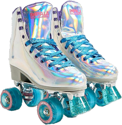 shoes shoes4fashion boots rollerskates rollerblades skater fashion outfit outfitaesthetic aesthetic holographic holographicaesthetic holo clothes clothesaesthetic blue laces freetoedit