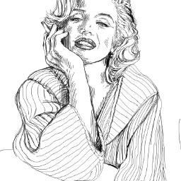 marilynmonroe sketch blackandwhite outlines