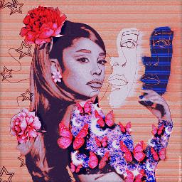 arianagrande ariana grande arianagrandebutera butterflies glitter pink purple stars moons flowers doodles aesthetic aestheticedit